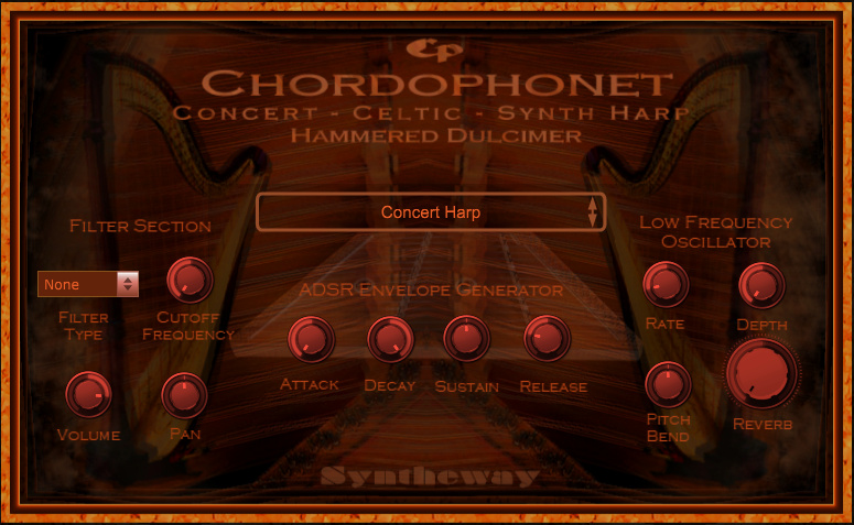 Click on to return to the main page of Chordophonet Virtual Celtic and Concert Harps & Dulcimer VSTi Software from Graphical User Interface (Screenshot)